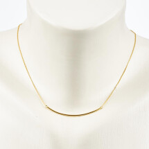 -Short necklace with curved bar sterling silver plated-20