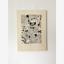 -Ray Moore Scribble Silkscreen print on poplar plywood-20