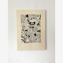 -Ray Moore Scribble Silkscreen print on poplar plywood-20