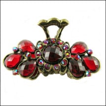 -Sunshine red hairclip made of metal and rhinestone-21