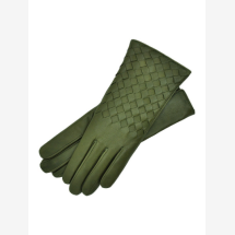 -Trani Womens Woven Leather Gloves in Green-21