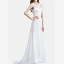 -Simple sheath wedding gown with back cutout-21