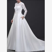 -Stylish wedding gown with lace sleeves-21