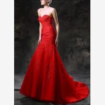 -Red Mermaid wedding dress with train-23