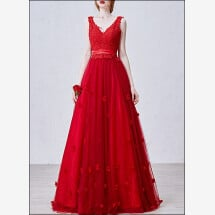 -Red wedding dress ball gown with lace and V-neck-21