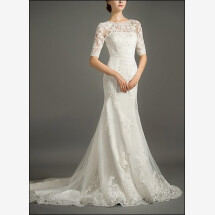 -Mermaid lace wedding dress with sleeves and buttons-23