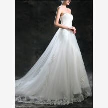 -Empire bridal gown with lace and train-22
