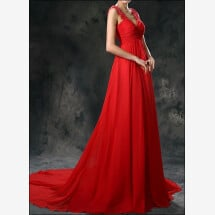 -Red Empire chiffon dress with straps-21