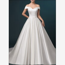 -Satin wedding dress a-line with pockets-21