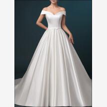 -Satin wedding dress a-line with pockets-21