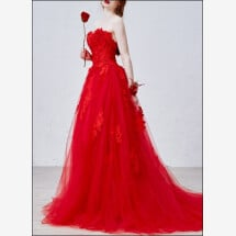 -Romantic wedding dress with lace in red-23