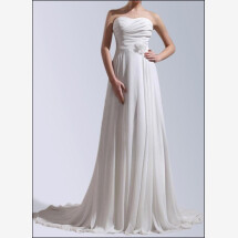 -Wedding dress made of chiffon with button front and train-21