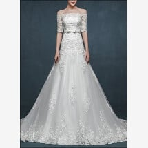 -Elegant wedding dress lace with sleeves-23