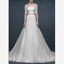 -Elegant wedding dress lace with sleeves-23