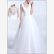 -Wedding dress made of tulle with top look back-23