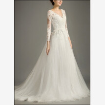 -Lace wedding dress with sleeves and tulle skirt-21