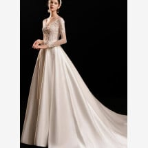 -Satin wedding dress with long sleeves-21