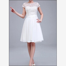 -Knee length wedding dress with lace sleeves-26
