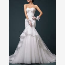 -Mermaid wedding dress with lace train-23