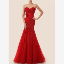 -Red lace dress Mermaid style-23
