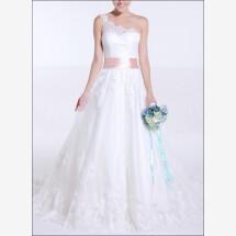-One-shoulder wedding dress lace Princess line-22