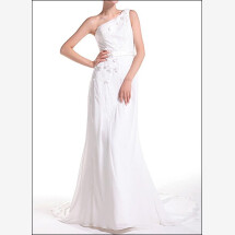 -One-shoulder wedding dress in the Greek style-21