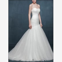 -Mermaid wedding dress made of tulle with ruffle-23