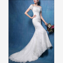 -Mermaid-cut with sleeves and lace wedding gown-21