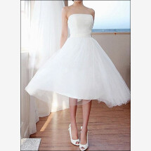 -Simple tulle wedding dress for the Office tea-21