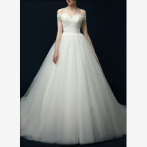 -Duchesse wedding dress in fine tulle with straps-23