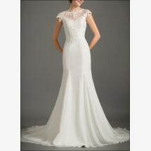 -Backless wedding dress of chiffon and lace-22