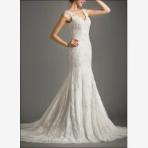 -Lace wedding dress with v-neckline and straps-21