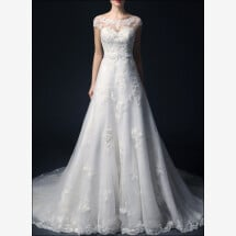 -Wedding dress a-line with lace and sleeves-21