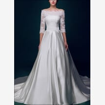 -Princess wedding dress with satin skirt and train-21