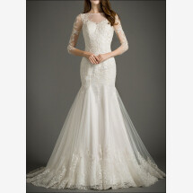 -Wedding gown with embroidery and transparent back-22