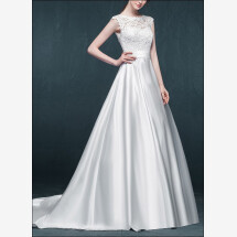 -Romantic wedding dress made of satin with lace-21