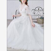 -Romantic wedding dress with v-neckline and straps-22