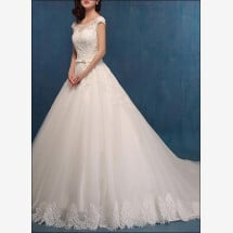 -Princess wedding dress with lace and Ärmelchen-21