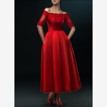 -Red wedding dress with pleated skirt for registry office-23