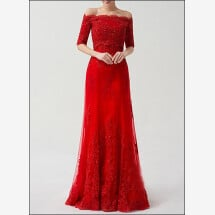 -Red wedding dress lace with applications-25