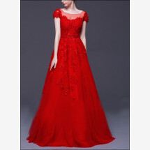 -Red wedding dress lace with sleeves-24