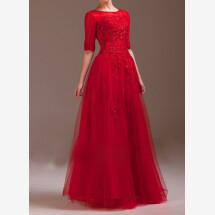 -Red wedding dress made of tulle and top with 3/4 sleeves-23
