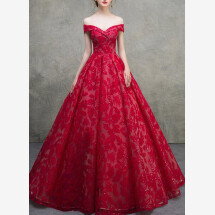 -Red evening dress wedding dress-21