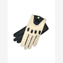 -Rome Womens Hand Sewn Deerskin Driving Gloves in Creme and Blue-21
