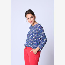 -Blouse shirt red white blue black-21