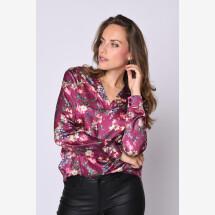-Silk blouse V-neck berry-21