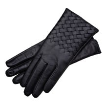 -Trani Womens Woven Leather Gloves In Black-21