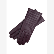 -Trani Womens Woven Leather Gloves in Aubergine-21