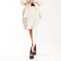 -White Asymmetrical Panel Skirt from NOSTRASANTISSIMA-21