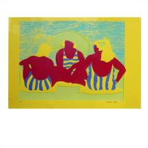 "-Screen print ""We three on the beach"" yellow-2"